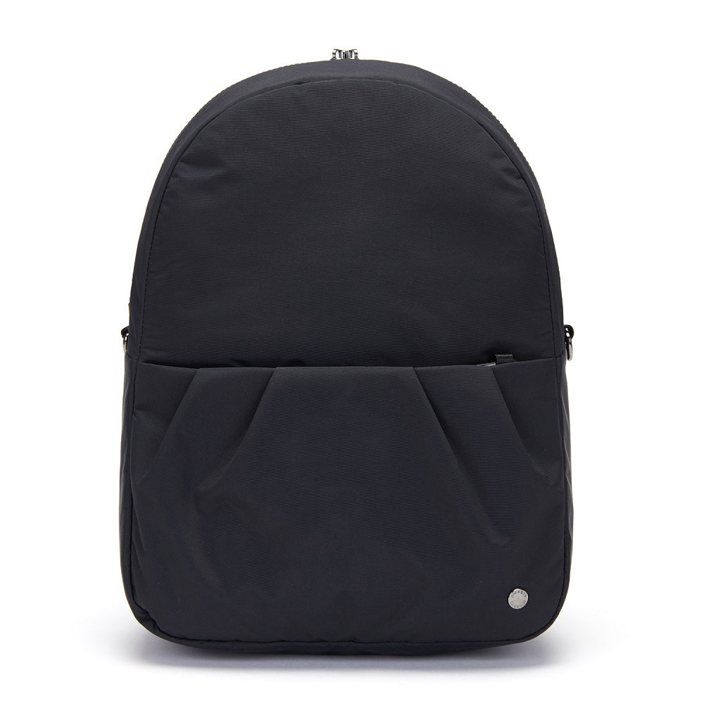 Front view of the Pacsafe Citysafe CX Anti-Theft Convertible Backpack color Black made with ECONYLu00ae regenerated nylon