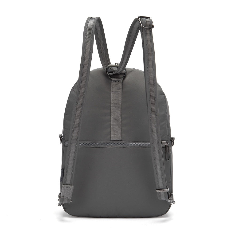 Back view of the Pacsafe Citysafe CX Anti-Theft Convertible Backpack color Storm made with ECONYLu00ae regenerated nylon