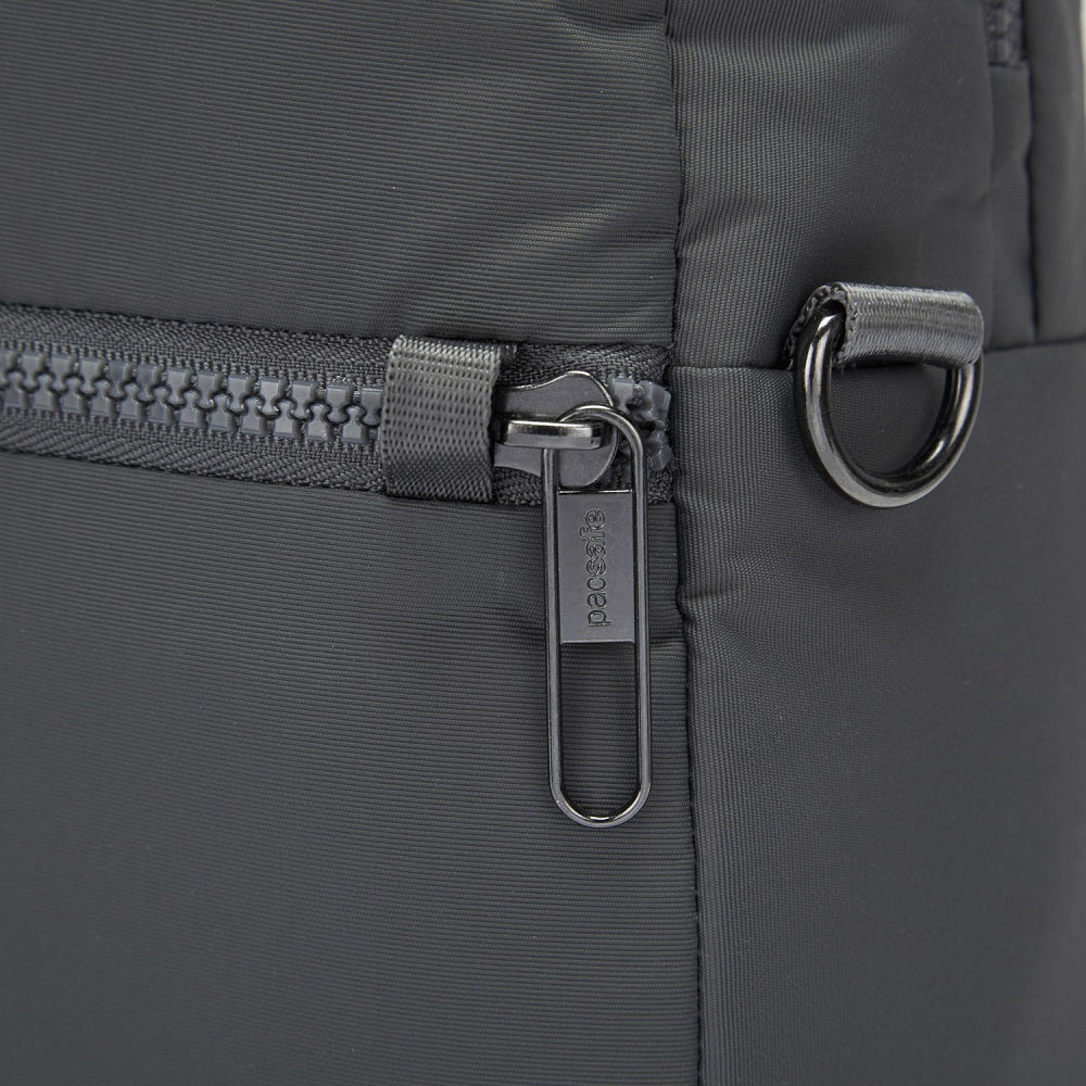 Detail of the Pacsafe Citysafe CX Anti-Theft Convertible Backpack color Storm made with ECONYLu00ae regenerated nylon