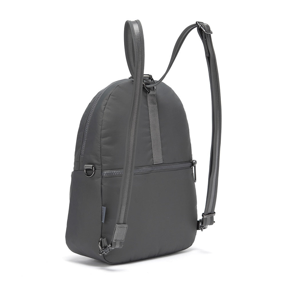 Back side view of the Pacsafe Citysafe CX Anti-Theft Convertible Backpack color Storm made with ECONYLu00ae regenerated nylon
