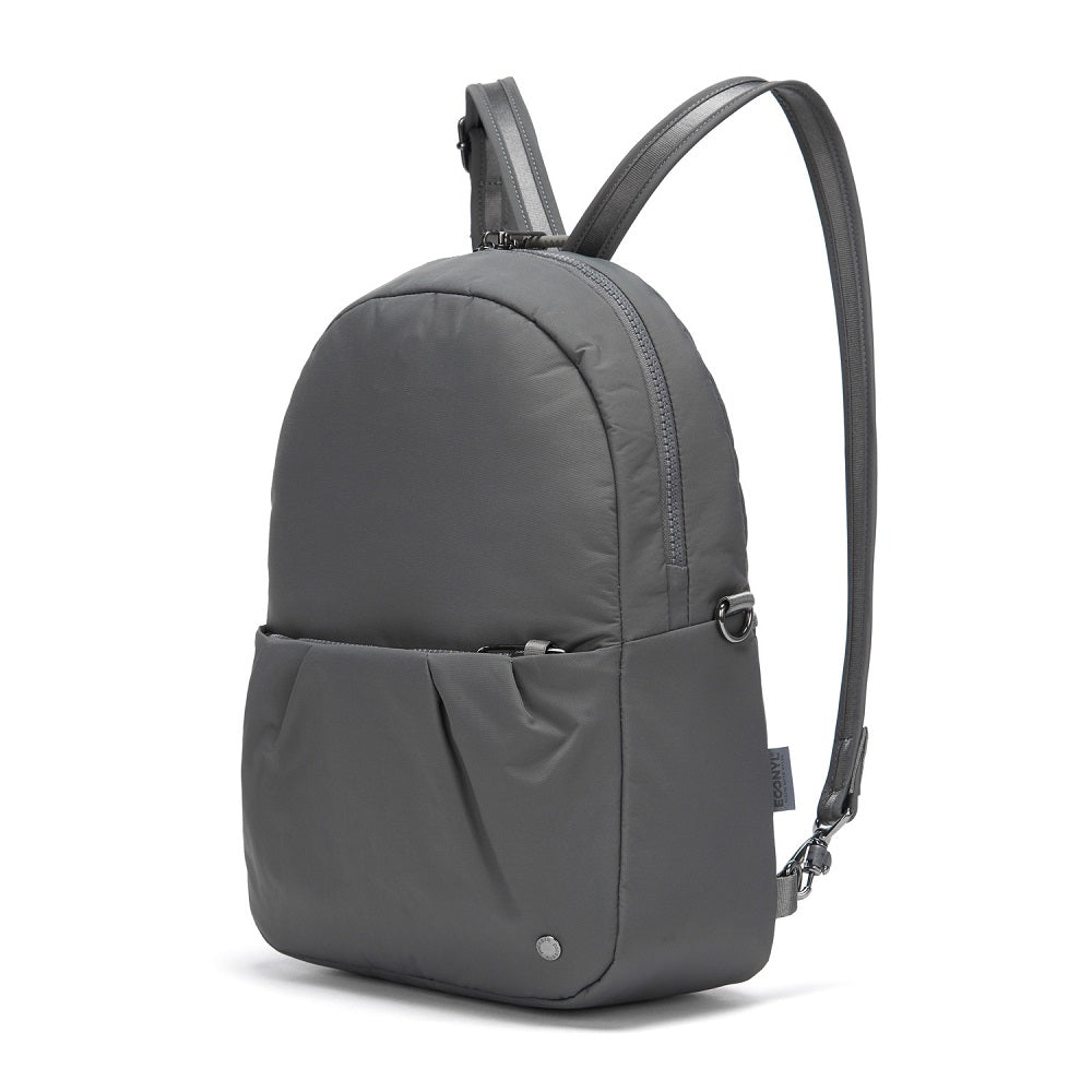 Side view of the Pacsafe Citysafe CX Anti-Theft Convertible Backpack color Storm made with ECONYLu00ae regenerated nylon