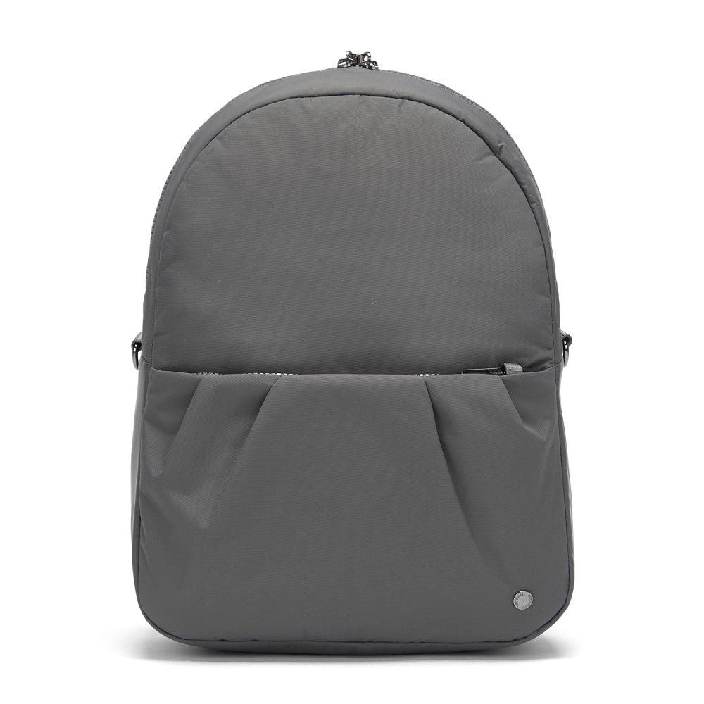 Front view of the Pacsafe Citysafe CX Anti-Theft Convertible Backpack color Storm made with ECONYLu00ae regenerated nylon