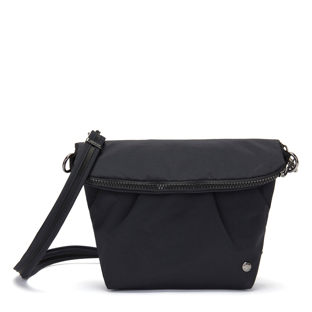 Front view of the Pacsafe Citysafe CX Anti-Theft Convertible Crossbody color Black made with ECONYLu00ae regenerated nylon
