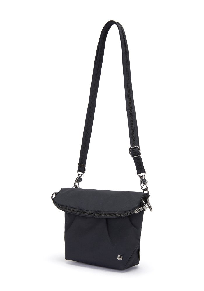Side view of the Pacsafe Citysafe CX Anti-Theft Convertible Crossbody color Black made with ECONYLu00ae regenerated nylon
