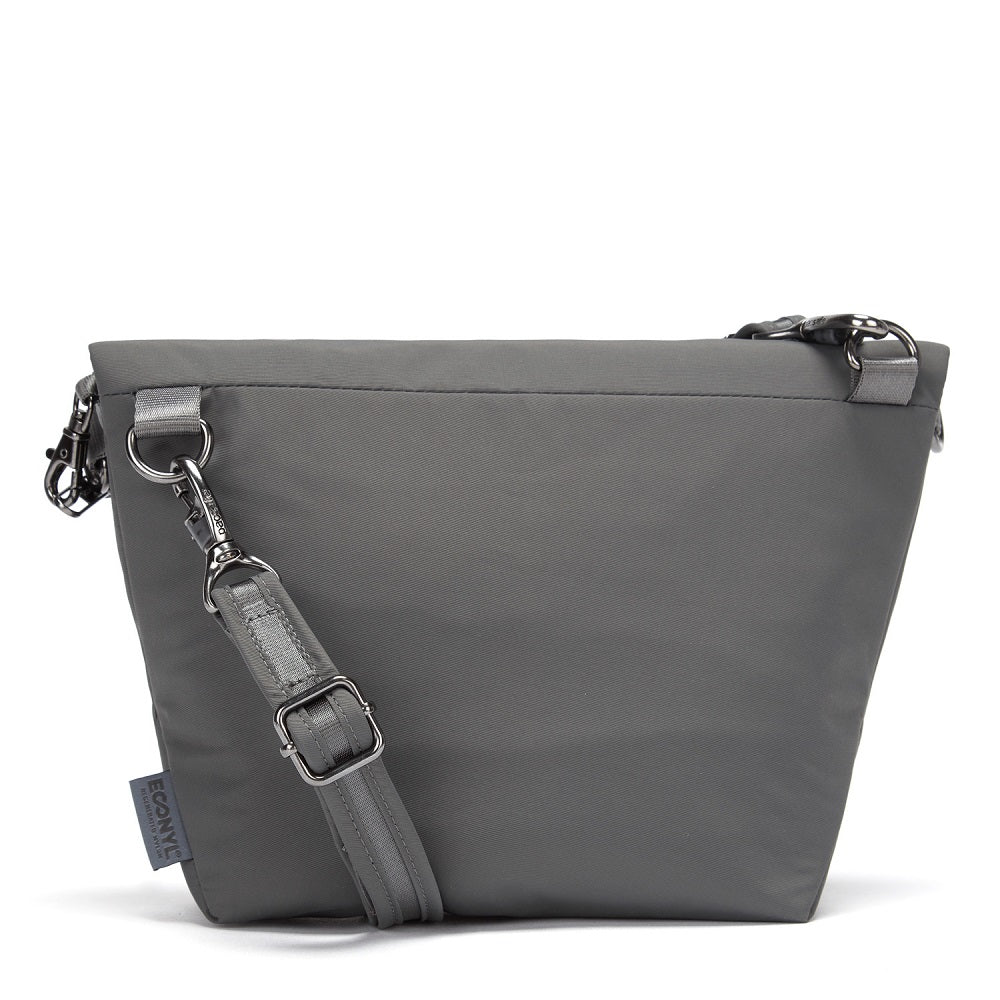 Back view of the Pacsafe Citysafe CX Anti-Theft Convertible Crossbody color Storm made with ECONYLu00ae regenerated nylon