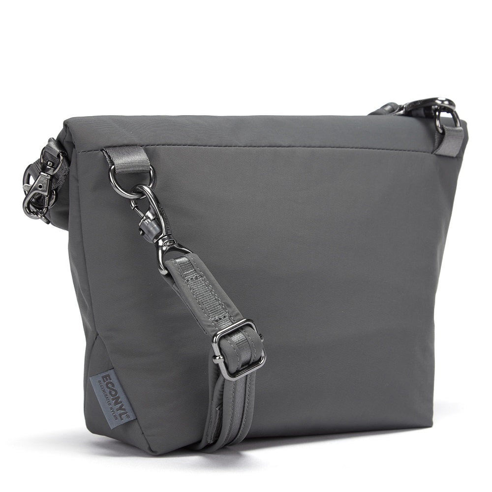 Back side view of the Pacsafe Citysafe CX Anti-Theft Convertible Crossbody color Storm made with ECONYLu00ae regenerated nylon