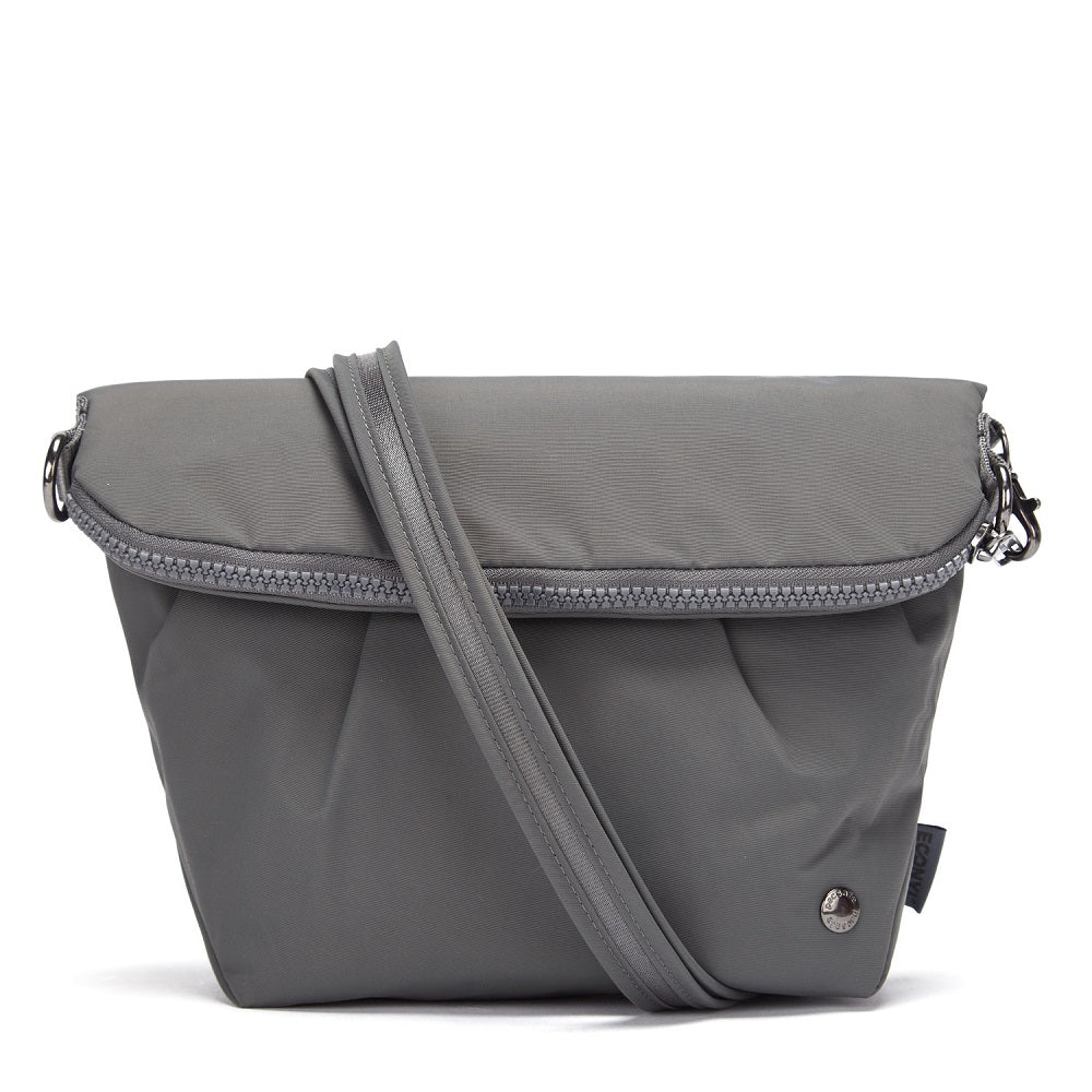Front view of the Pacsafe Citysafe CX Anti-Theft Convertible Crossbody color Storm made with ECONYLu00ae regenerated nylon