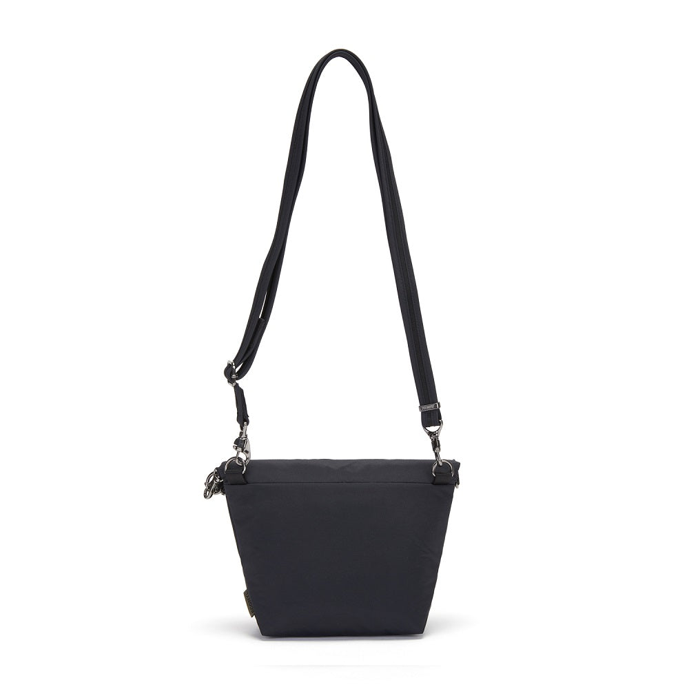 Back view of the Pacsafe Citysafe CX Anti-Theft Convertible Crossbody color Black made with ECONYLu00ae regenerated nylon