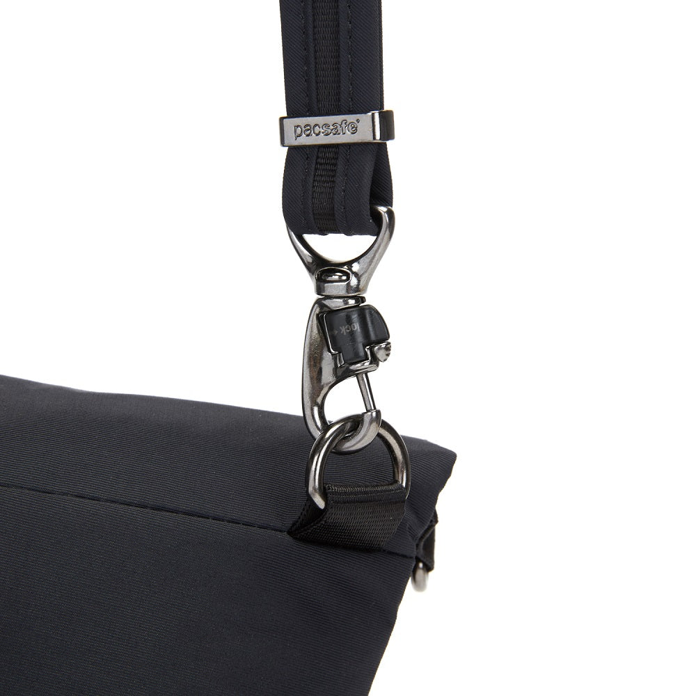 Detail of the Pacsafe Citysafe CX Anti-Theft Convertible Crossbody color Black made with ECONYLu00ae regenerated nylon