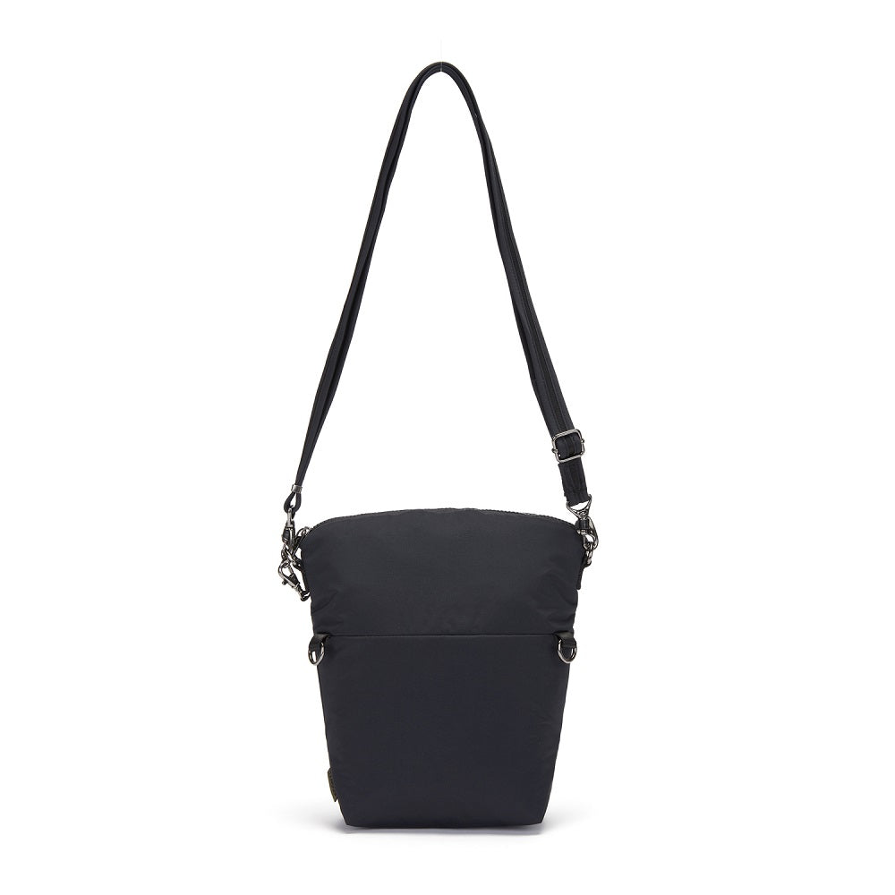 Front view of the Pacsafe Citysafe CX Anti-Theft Convertible Crossbody color Black made with ECONYLu00ae regenerated nylon extended