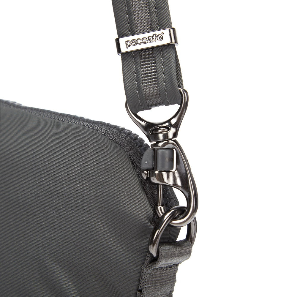 Detail of the Pacsafe Citysafe CX Anti-Theft Convertible Crossbody color Storm made with ECONYLu00ae regenerated nylon
