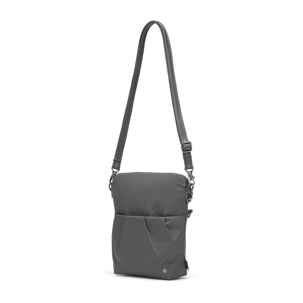 Side view of the Pacsafe Citysafe CX Anti-Theft Convertible Crossbody color Storm made with ECONYLu00ae regenerated nylon extended