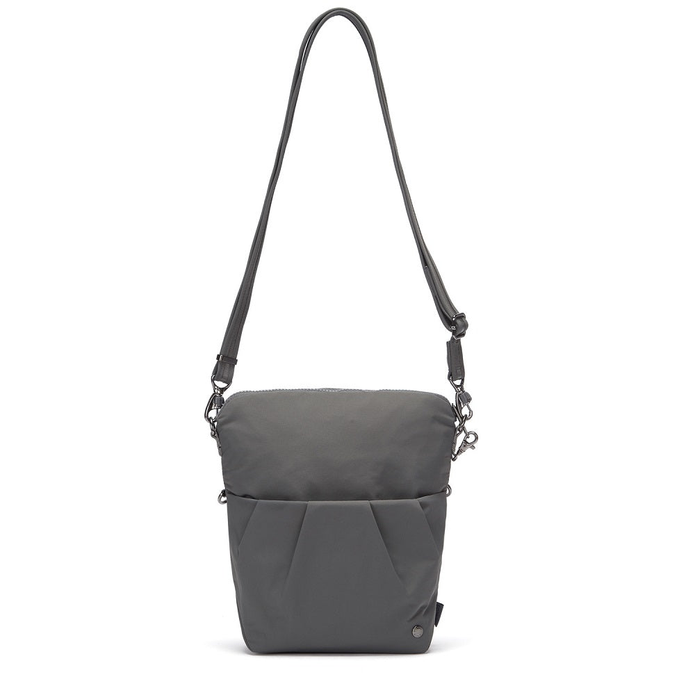 Front view of the Pacsafe Citysafe CX Anti-Theft Convertible Crossbody color Storm made with ECONYLu00ae regenerated nylon extended
