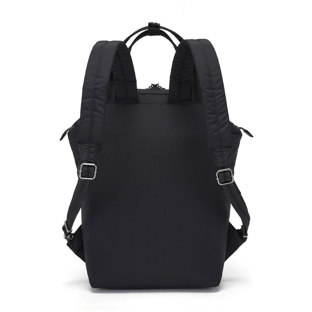 Back view of the Pacsafe Citysafe CX Anti-Theft Mini Backpack color Black made with ECONYLu00ae regenerated nylon