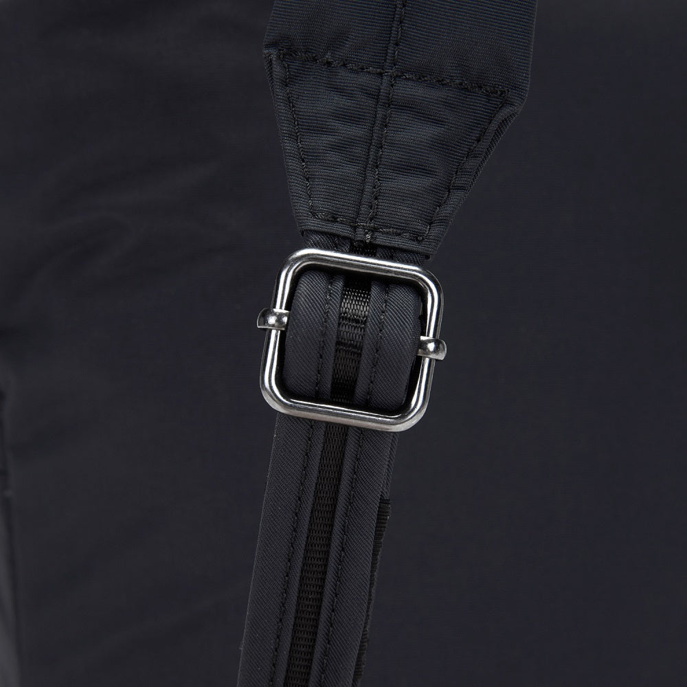 Detail of the Pacsafe Citysafe CX Anti-Theft Mini Backpack color Black made with ECONYLu00ae regenerated nylon