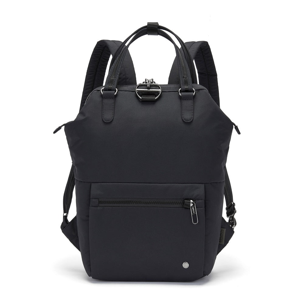 Pacsafe Citysafe CX Anti-Theft Mini Backpack color Black made with ECONYLu00ae regenerated nylon