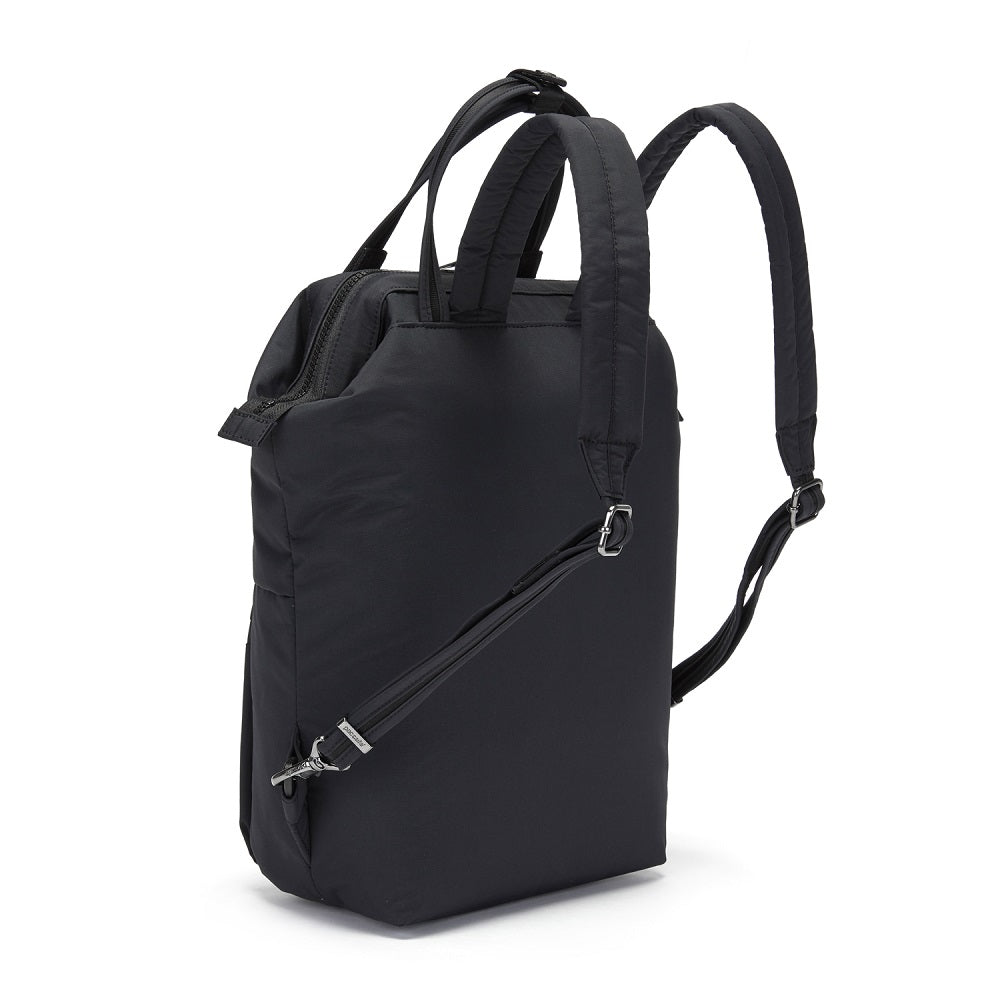 Side back view of the Pacsafe Citysafe CX Anti-Theft Mini Backpack color Black made with ECONYLu00ae regenerated nylon