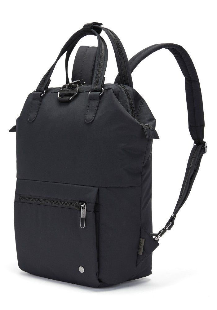 Side view of the Pacsafe Citysafe CX Anti-Theft Mini Backpack color Black made with ECONYLu00ae regenerated nylon