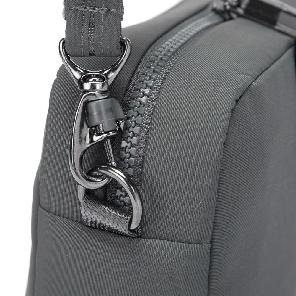 Detail of the Pacsafe Citysafe CX Anti-Theft Square Crossbody color Storm made with ECONYLu00ae regenerated nylon