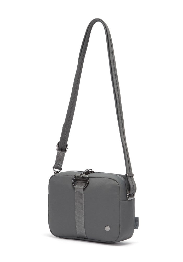 Side view of the Pacsafe Citysafe CX Anti-Theft Square Crossbody color Storm made with ECONYLu00ae regenerated nylon