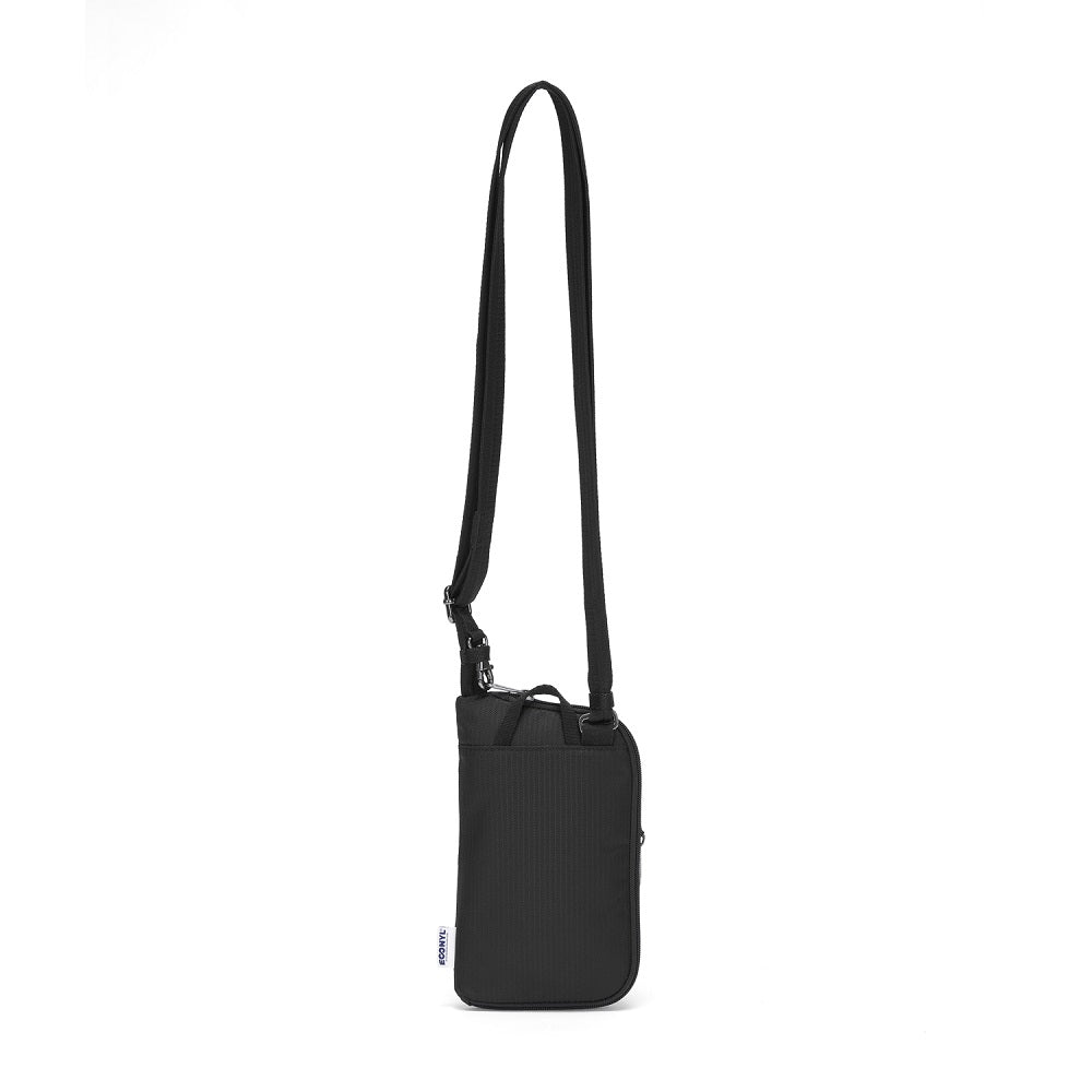Back view of the Pacsafe Daysafe Anti-Theft Tech Crossbody color Black made with ECONYLu00ae regenerated nylon