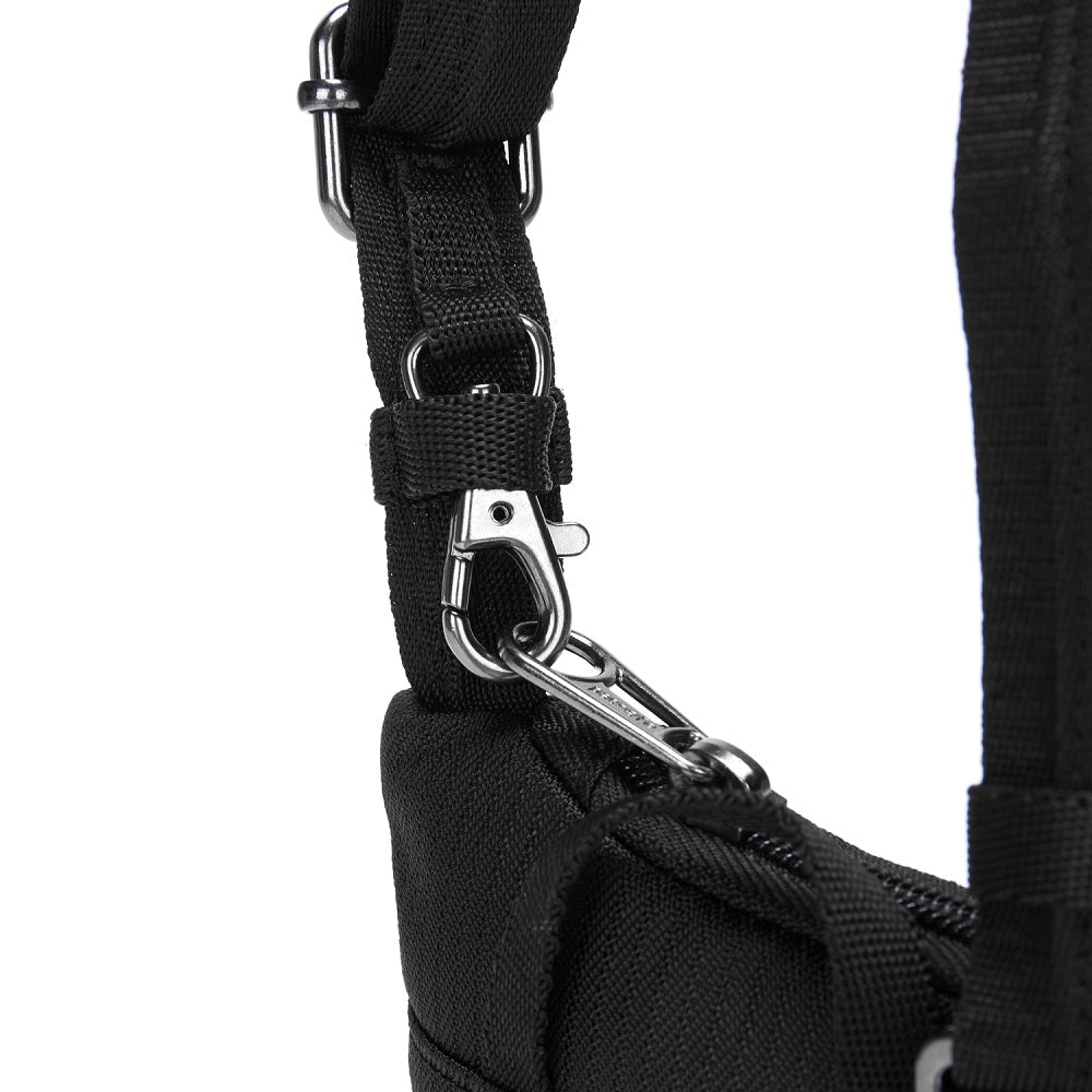 Detail of the Pacsafe Daysafe Anti-Theft Tech Crossbody color Black made with ECONYLu00ae regenerated nylon