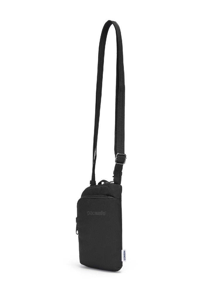 Front view of the Pacsafe Daysafe Anti-Theft Tech Crossbody color Black made with ECONYLu00ae regenerated nylon