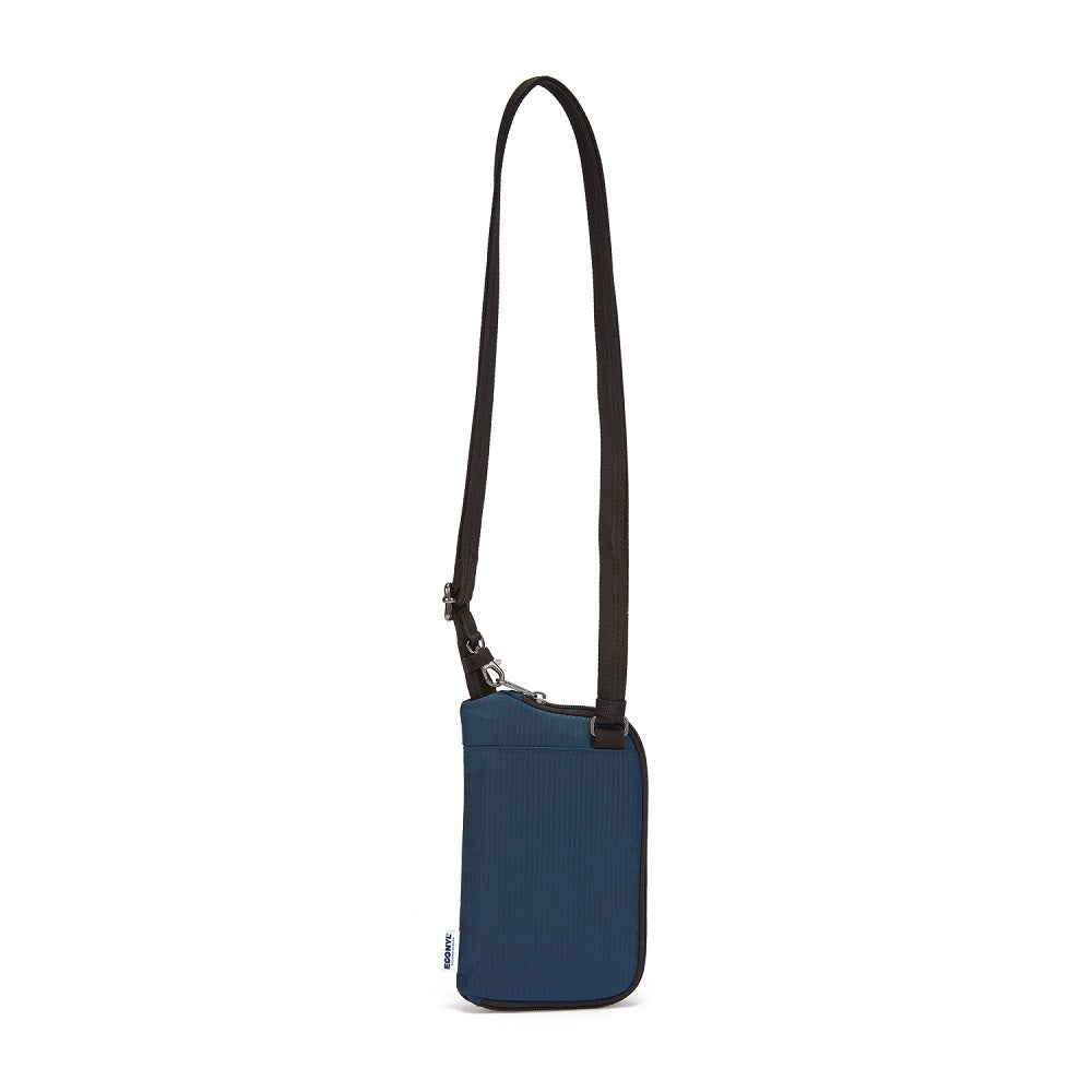Back view of the Pacsafe Daysafe Anti-Theft Tech Crossbody color Ocean made with ECONYLu00ae regenerated nylon