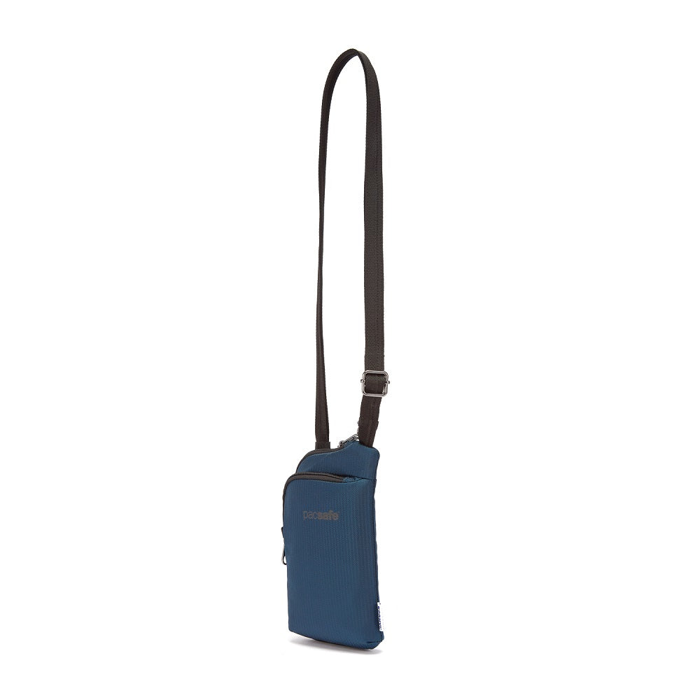 Front side view of the Pacsafe Daysafe Anti-Theft Tech Crossbody color Ocean made with ECONYLu00ae regenerated nylon