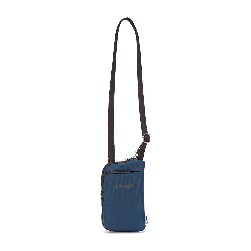 Front view of the Pacsafe Daysafe Anti-Theft Tech Crossbody color Ocean made with ECONYLu00ae regenerated nylon