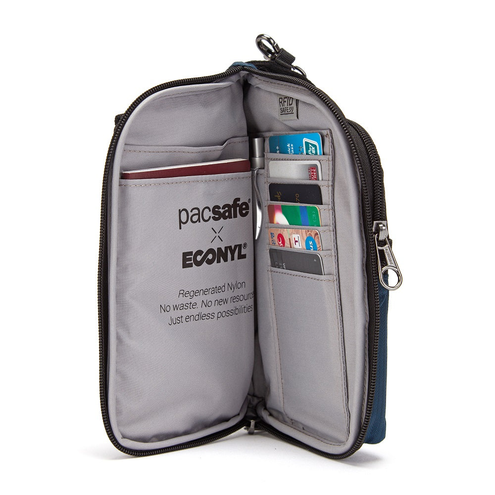 Inside view of the Pacsafe Daysafe Anti-Theft Tech Crossbody color Black made with ECONYLu00ae regenerated nylon
