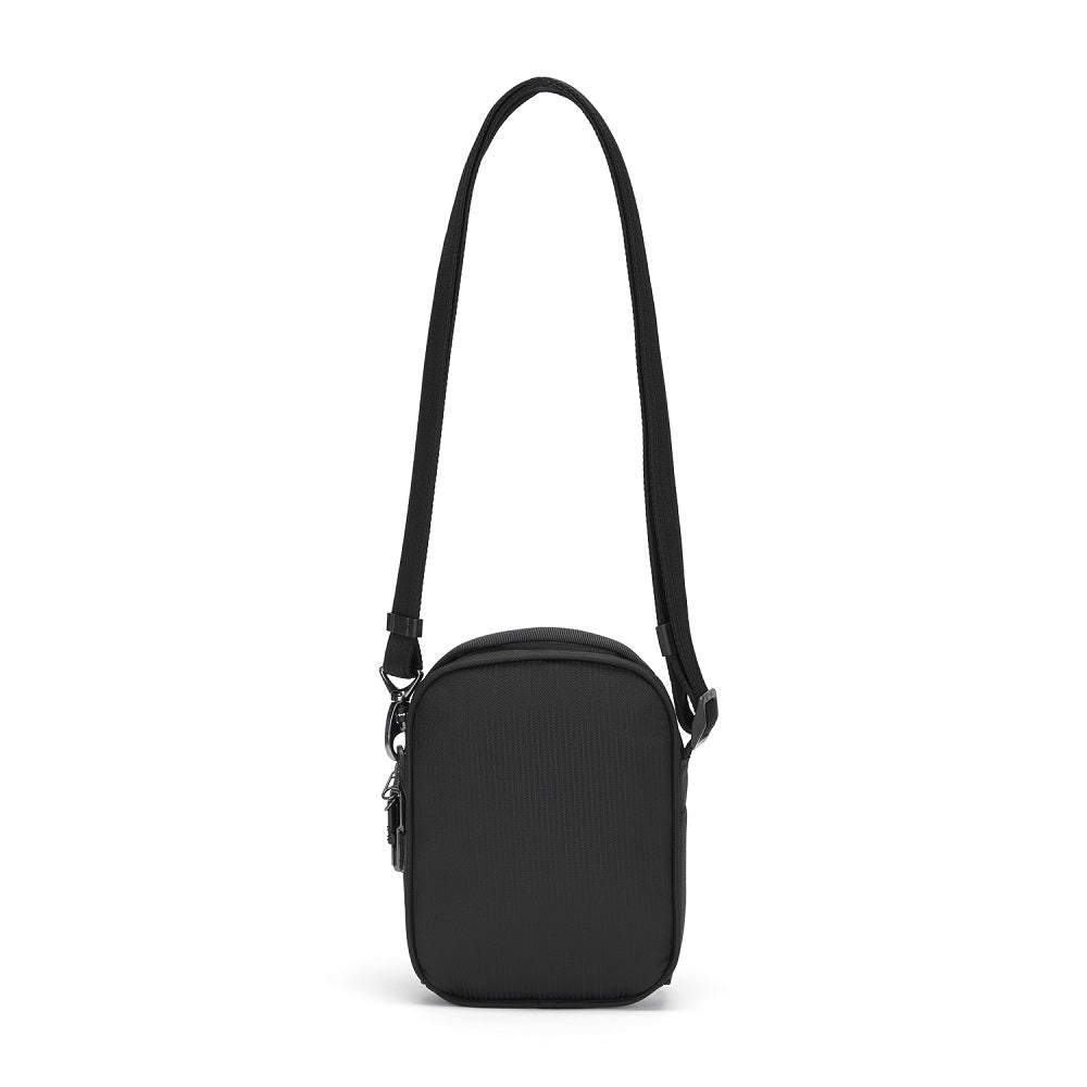 Back view of the Pacsafe Metrosafe LS100 Anti-Theft Crossbody Bag color Black made with ECONYLu00ae regenerated nylon