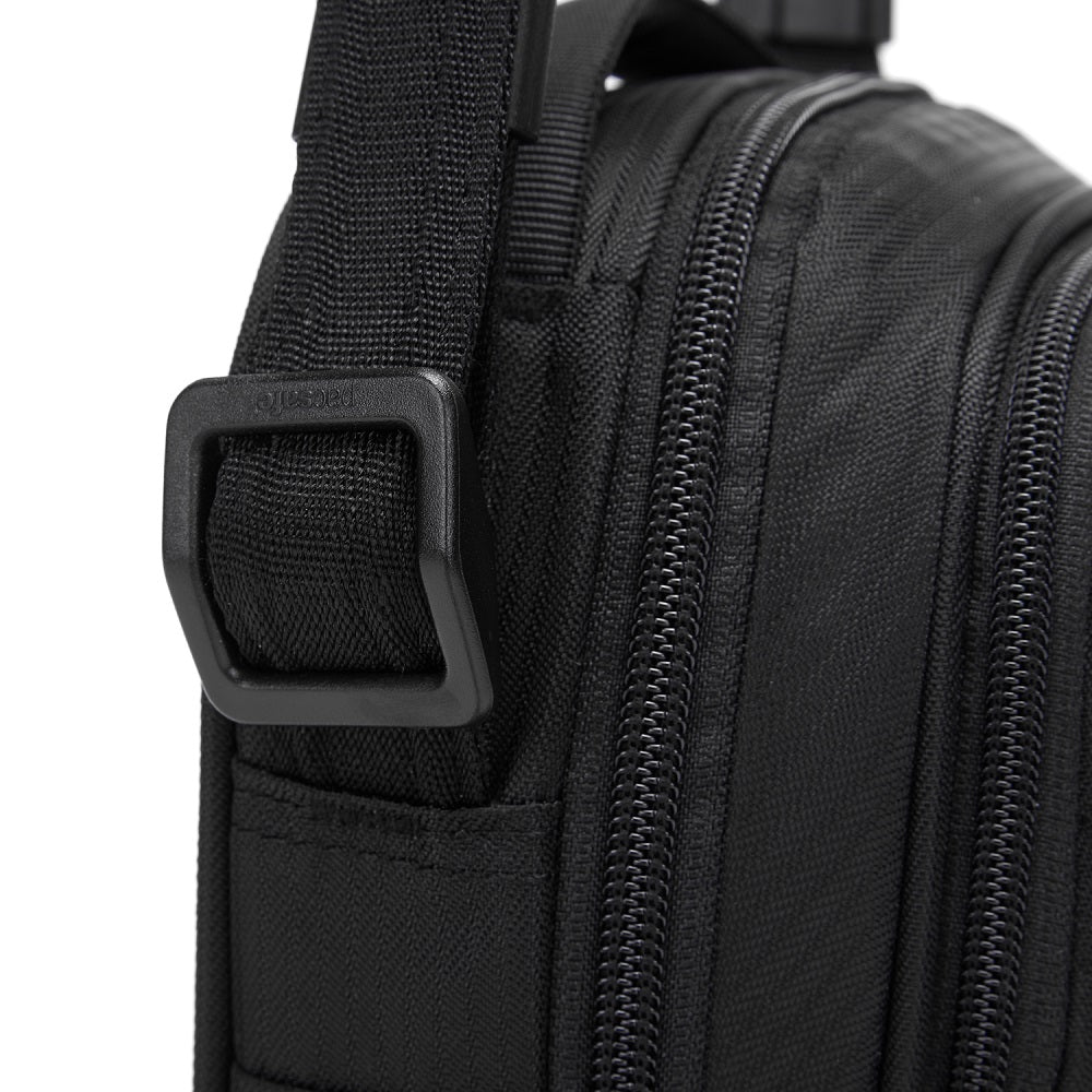Detail of the Pacsafe Metrosafe LS100 Anti-Theft Crossbody Bag color Black made with ECONYLu00ae regenerated nylon