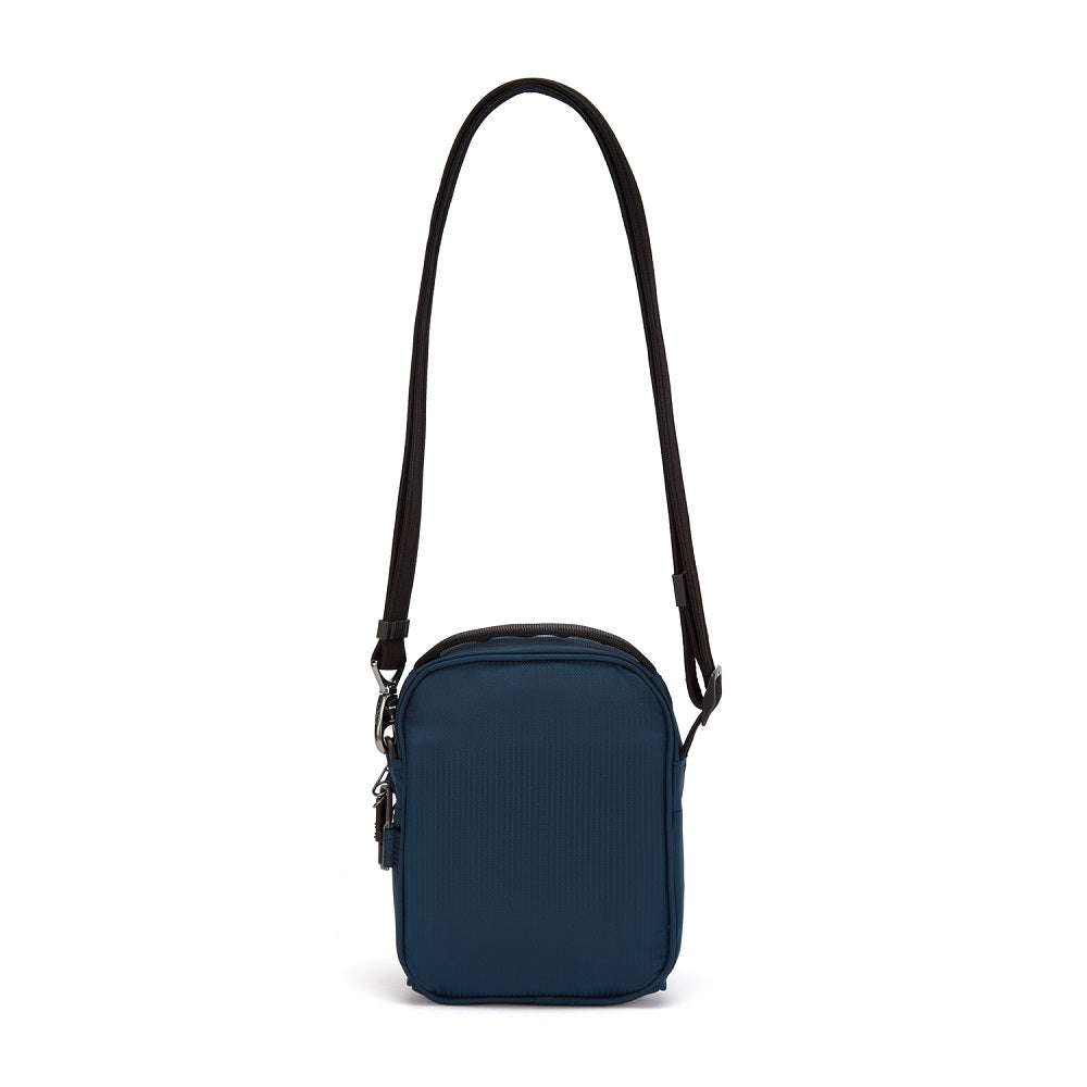 Back view of the Pacsafe Metrosafe LS100 Anti-Theft Crossbody Bag color Ocean made with ECONYLu00ae regenerated nylon