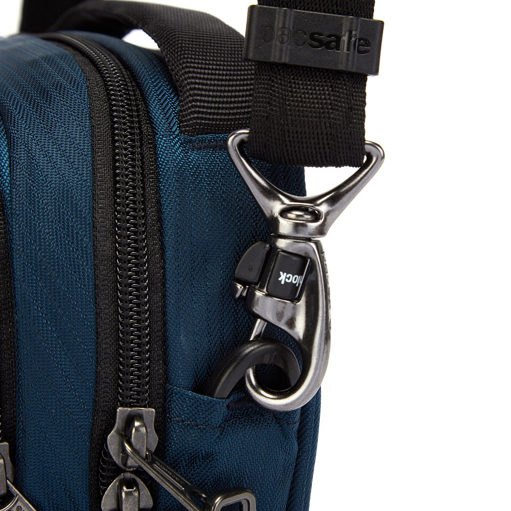 Detail of the Pacsafe Metrosafe LS100 Anti-Theft Crossbody Bag color Ocean made with ECONYLu00ae regenerated nylon