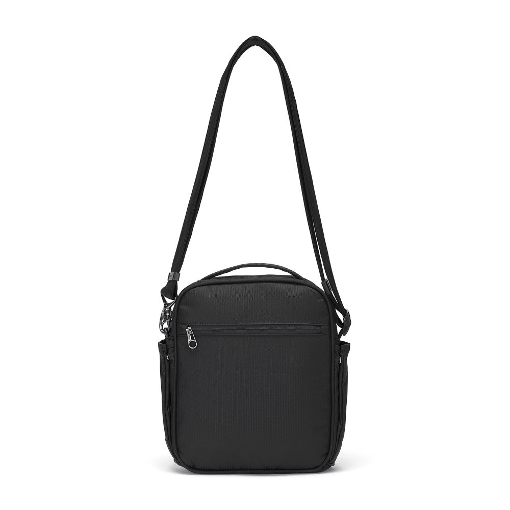 Back view of the Pacsafe Metrosafe LS200 Anti-Theft Crossbody Bag color Black made with ECONYLu00ae regenerated nylon