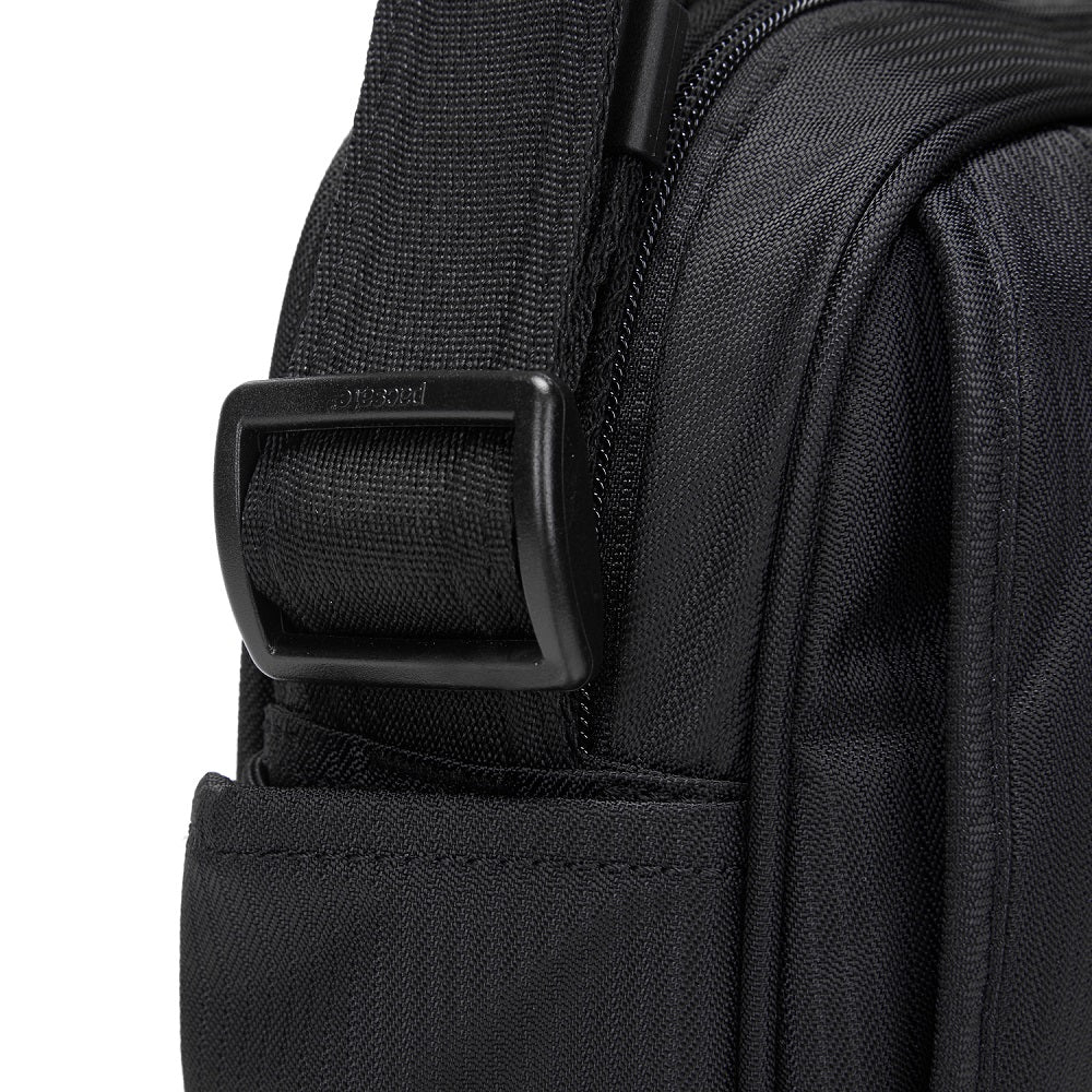 Detail of the Pacsafe Metrosafe LS200 Anti-Theft Crossbody Bag color Black made with ECONYLu00ae regenerated nylon