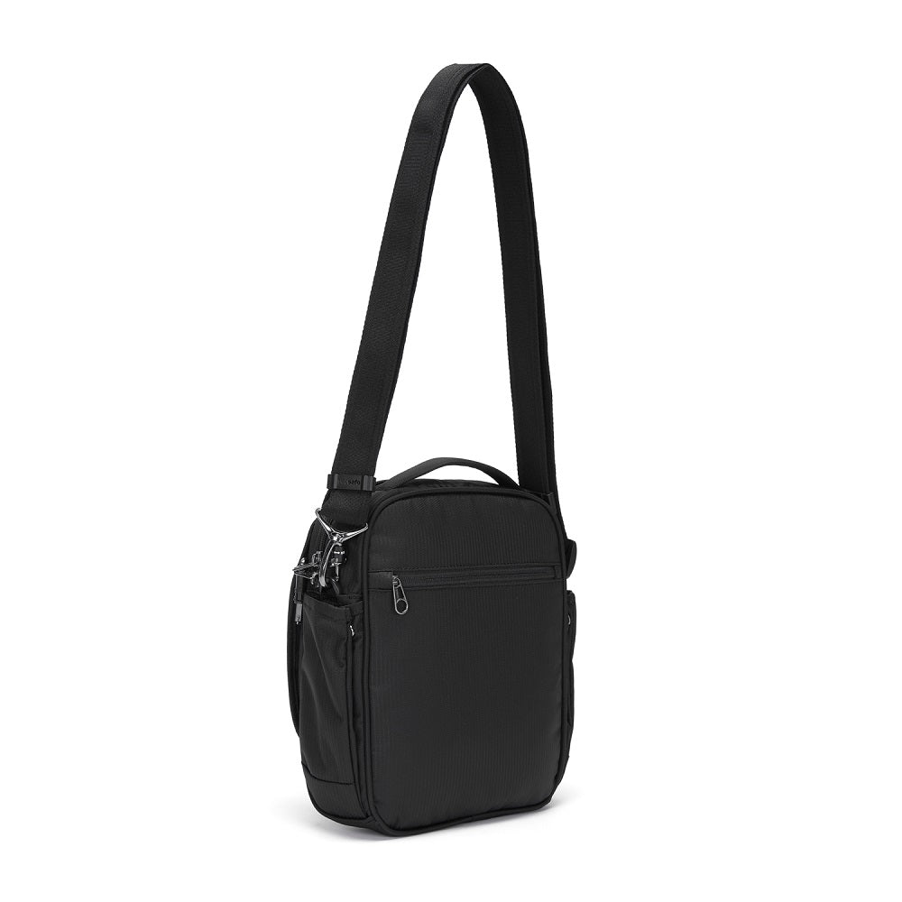 Back side view of the Pacsafe Metrosafe LS200 Anti-Theft Crossbody Bag color Black made with ECONYLu00ae regenerated nylon