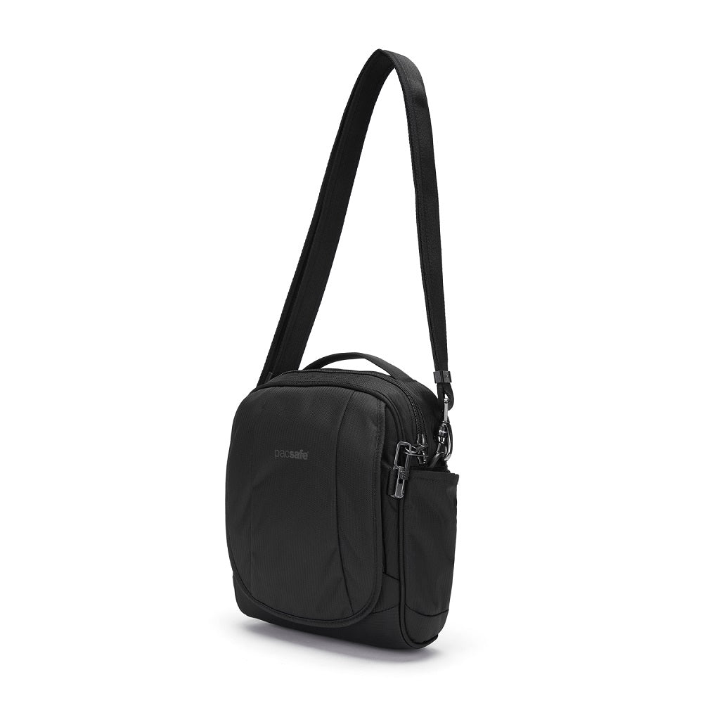 Front side view of the Pacsafe Metrosafe LS200 Anti-Theft Crossbody Bag color Black made with ECONYLu00ae regenerated nylon