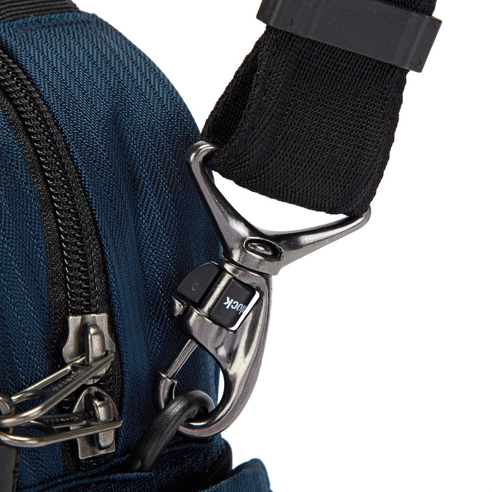 Detail of the Pacsafe Metrosafe LS200 Anti-Theft Crossbody Bag color Ocean made with ECONYLu00ae regenerated nylon