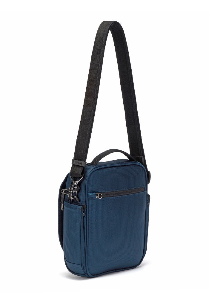 Side back view of the Pacsafe Metrosafe LS200 Anti-Theft Crossbody Bag color Ocean made with ECONYLu00ae regenerated nylon