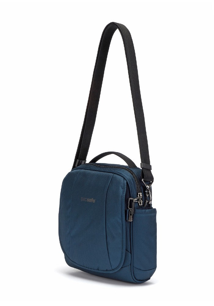 Front side view of the Pacsafe Metrosafe LS200 Anti-Theft Crossbody Bag color Ocean made with ECONYLu00ae regenerated nylon