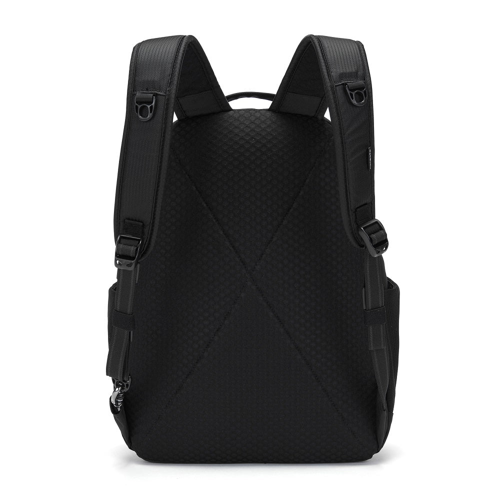 Back view of the Pacsafe Metrosafe LS350 Anti-Theft Backpack color Black made with ECONYLu00ae regenerated nylon