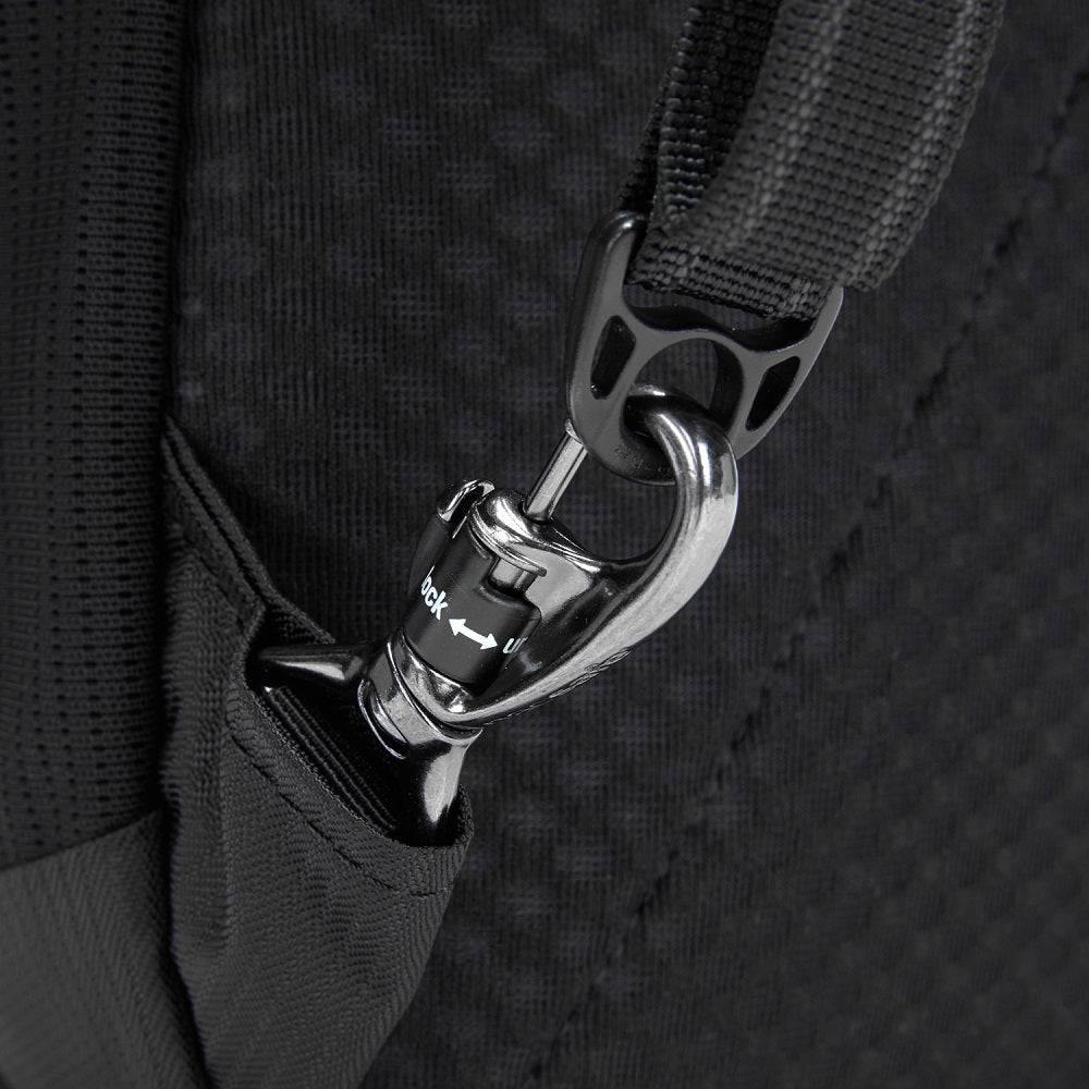 Detail of the Pacsafe Metrosafe LS350 Anti-Theft Backpack color Black made with ECONYLu00ae regenerated nylon