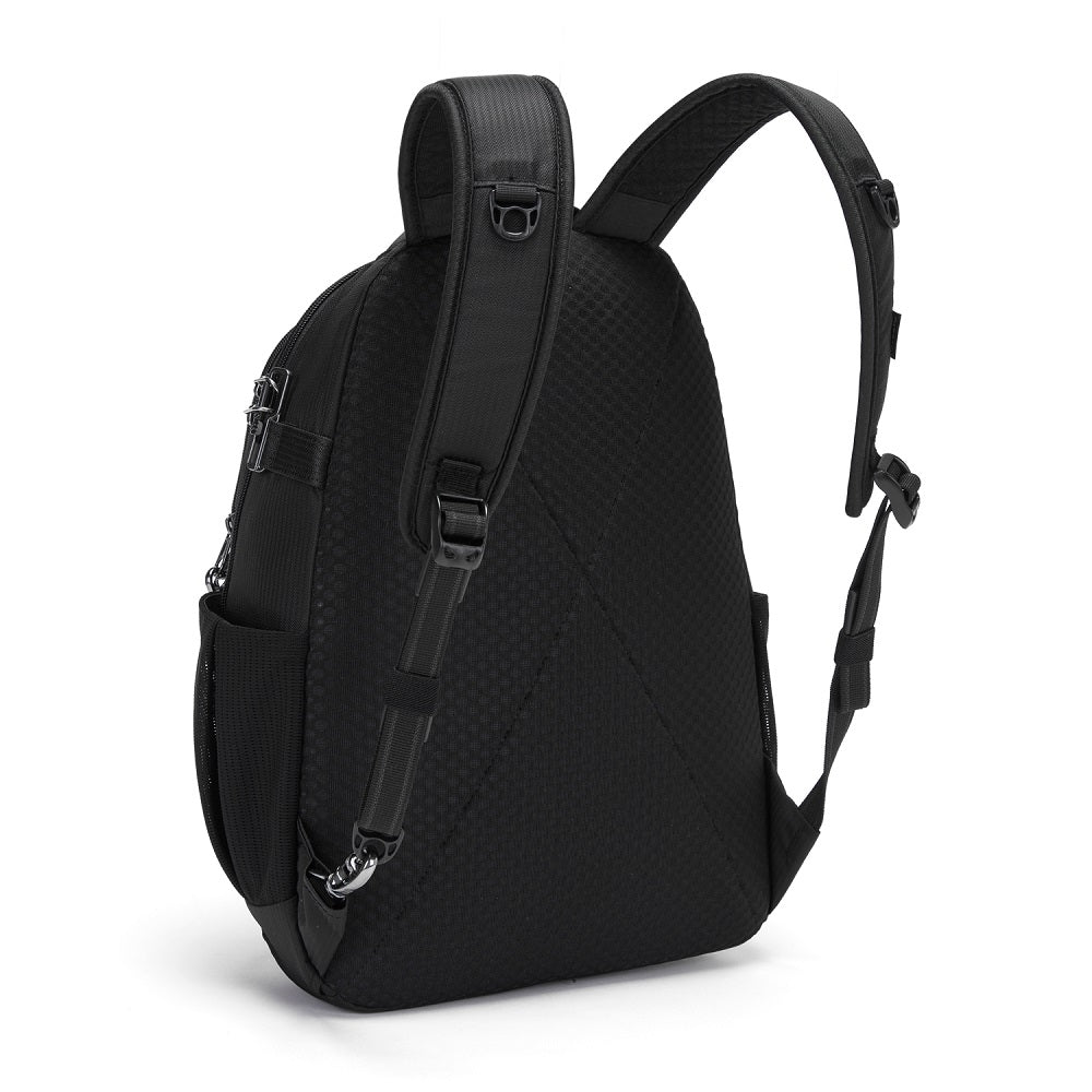 Back side view of the Pacsafe Metrosafe LS350 Anti-Theft Backpack color Black made with ECONYLu00ae regenerated nylon