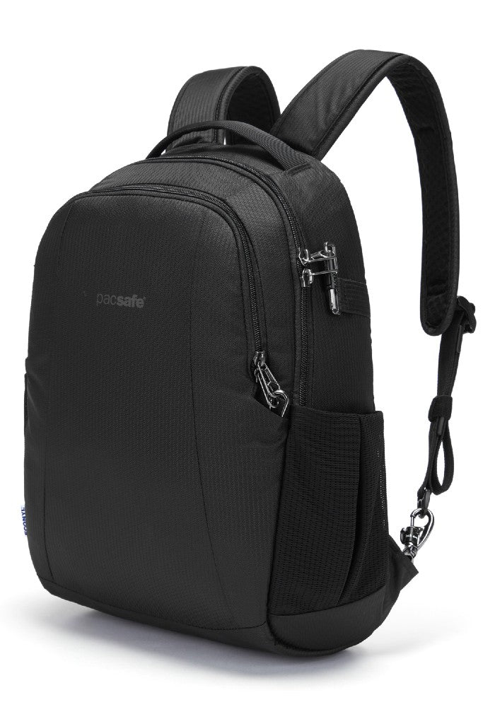 Front side view of the Pacsafe Metrosafe LS350 Anti-Theft Backpack color Black made with ECONYLu00ae regenerated nylon