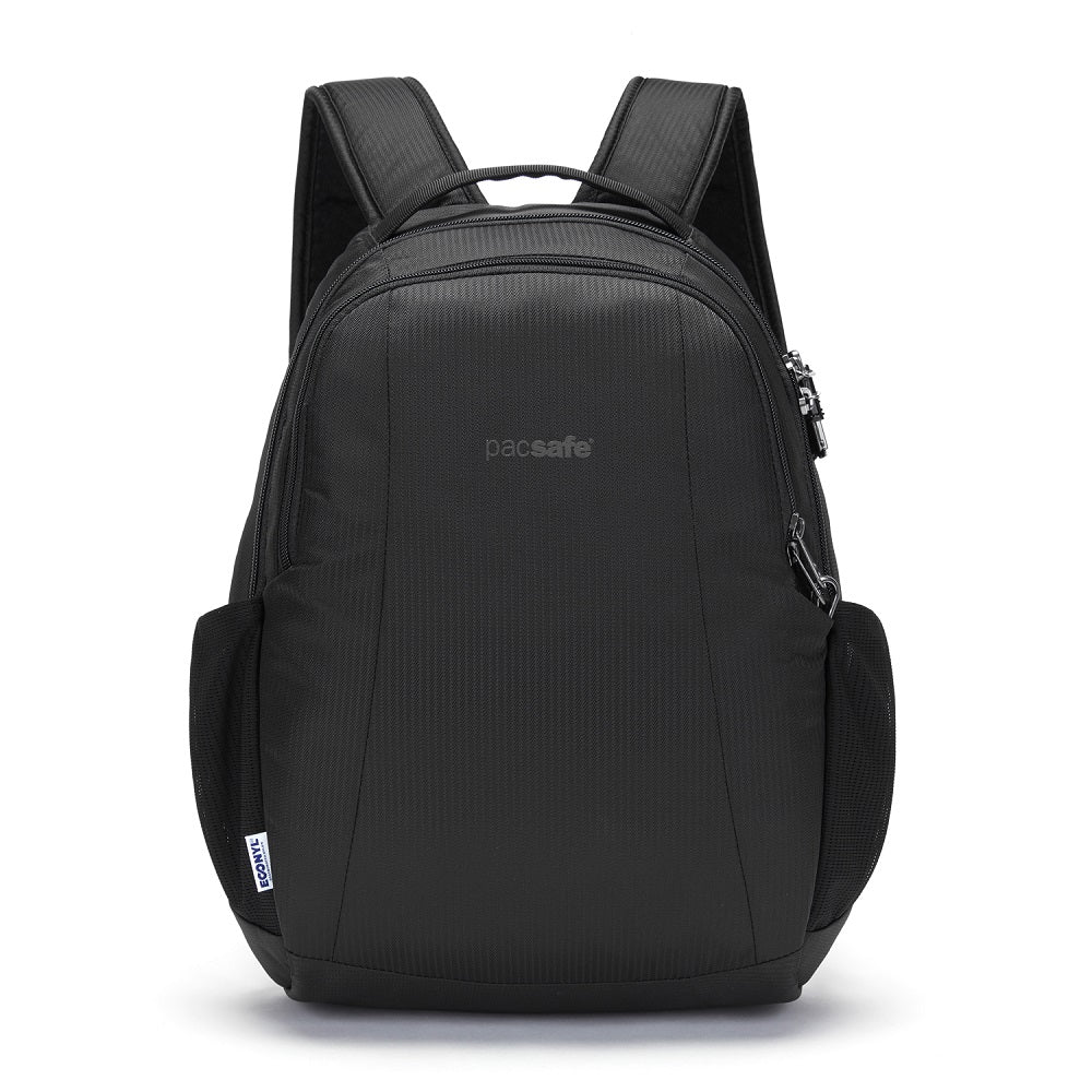 Pacsafe Metrosafe LS350 Anti-Theft Backpack color Black made with ECONYLu00ae regenerated nylon