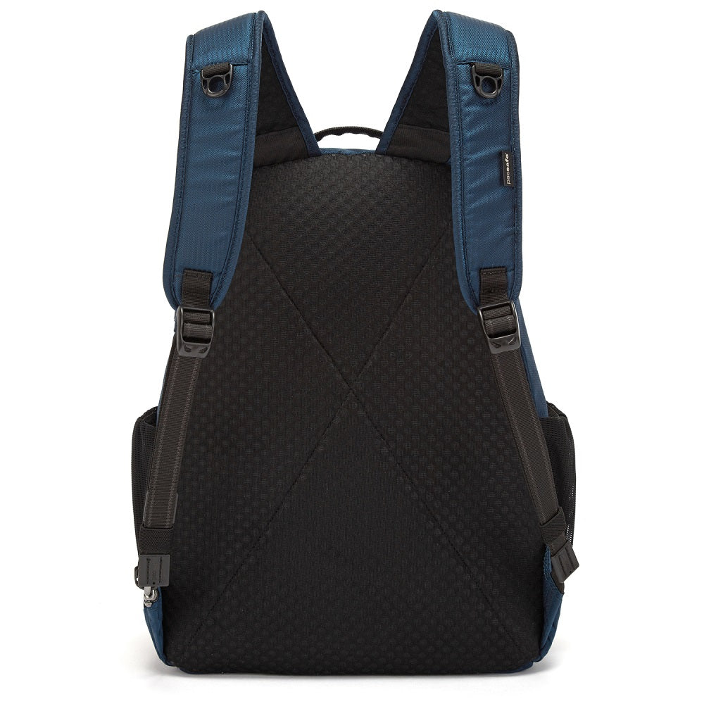 Back view of the Pacsafe Metrosafe LS350 Anti-Theft Backpack color Ocean made with ECONYLu00ae regenerated nylon