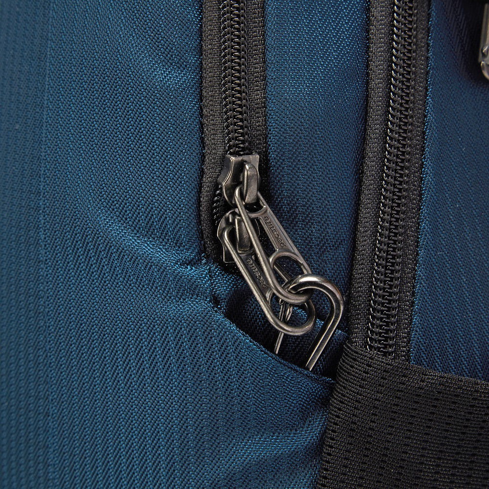 Detail of the Pacsafe Metrosafe LS350 Anti-Theft Backpack color Ocean made with ECONYLu00ae regenerated nylon