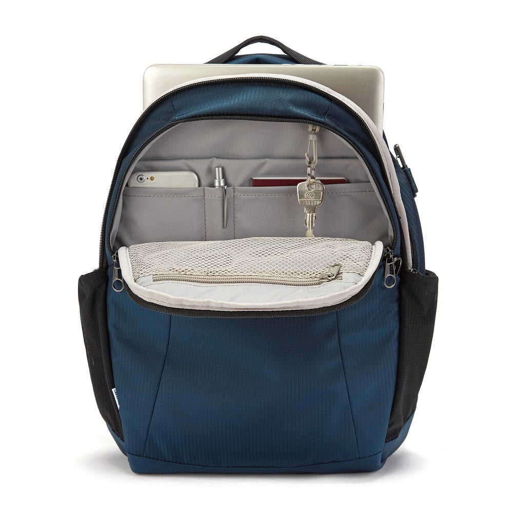Inside view of the Pacsafe Metrosafe LS350 Anti-Theft Backpack color Ocean made with ECONYLu00ae regenerated nylon